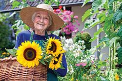 Elderly woman in the garden